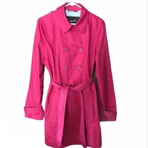 Coach Hot Pink Short Trench Coat Ladies Large